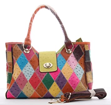 Multicolour Patchwork Real Leather Bag Handbag Shoulder Zip Top Cross Body ( leather with ostrich printed)  Amazon.co.uk  Luggage