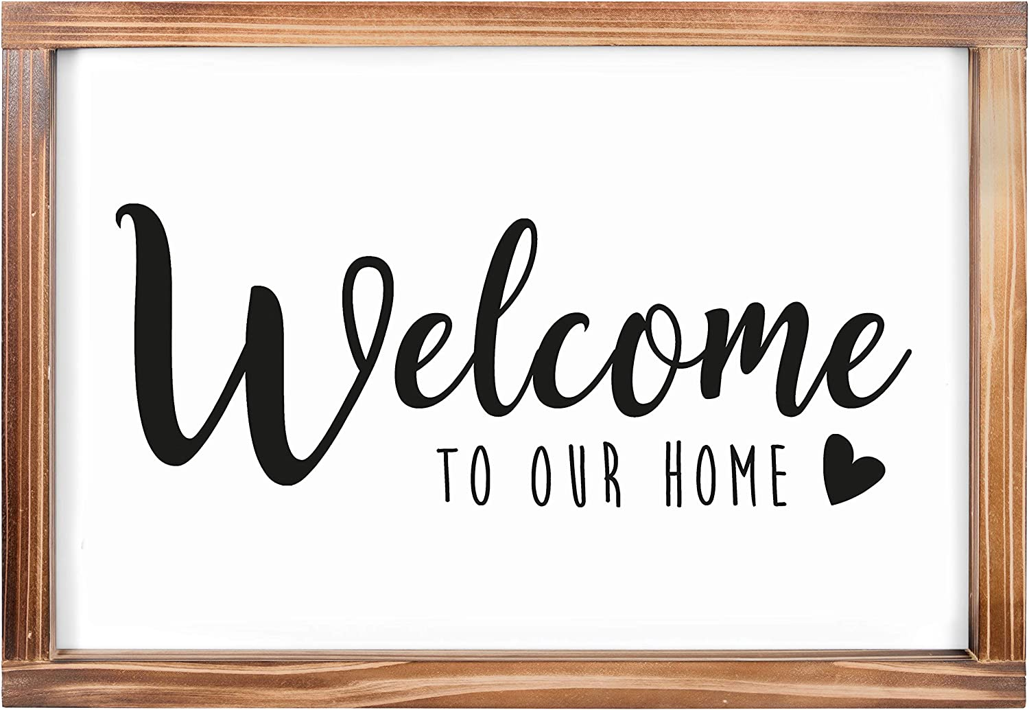 Welcome to Our Home Sign -Rustic Farmhouse Decor for the Home Sign - Wall Decorations for Living Room, Modern Farmhouse Wall Decor, Rustic Wall Hanging Welcome Sign with Solid Wood Frame -11x16 inches