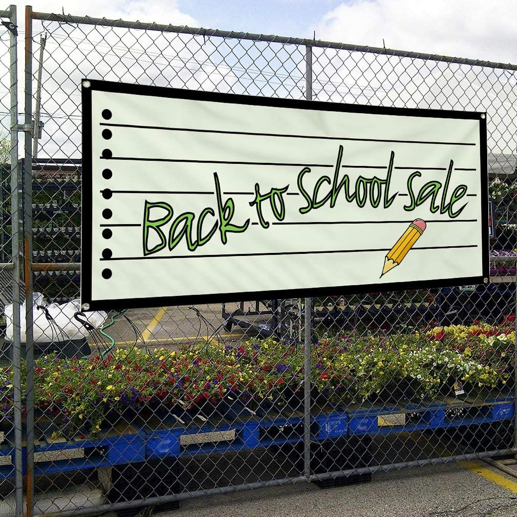 24inx60in Vinyl Banner Sign Back to School Sale Business Outdoor Marketing Advertising White Set of 3 Multiple Sizes Available 4 Grommets