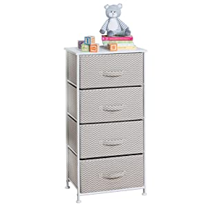 mDesign Vertical Dresser Storage Tower - Sturdy Steel Frame, Wood Top, Easy Pull Fabric Bins - Organizer Unit for Child/Kids Bedroom or Nursery - Chevron Zig-Zag Print - 4 Drawers - Taupe/Natural