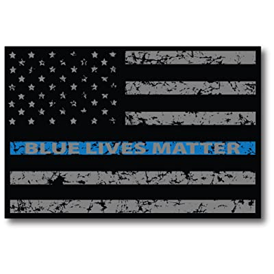 Thin Blue Line Distressed American Flag Car Magnet Blue Lives Matter for Car Truck SUV Heavy Duty Waterproof - in Support of Police and Law Enforcement Officers: Automotive