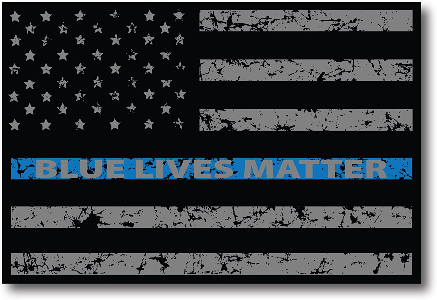 Thin Blue Line Police Star Blue Lives Matter USA Flag Decal Car Truck