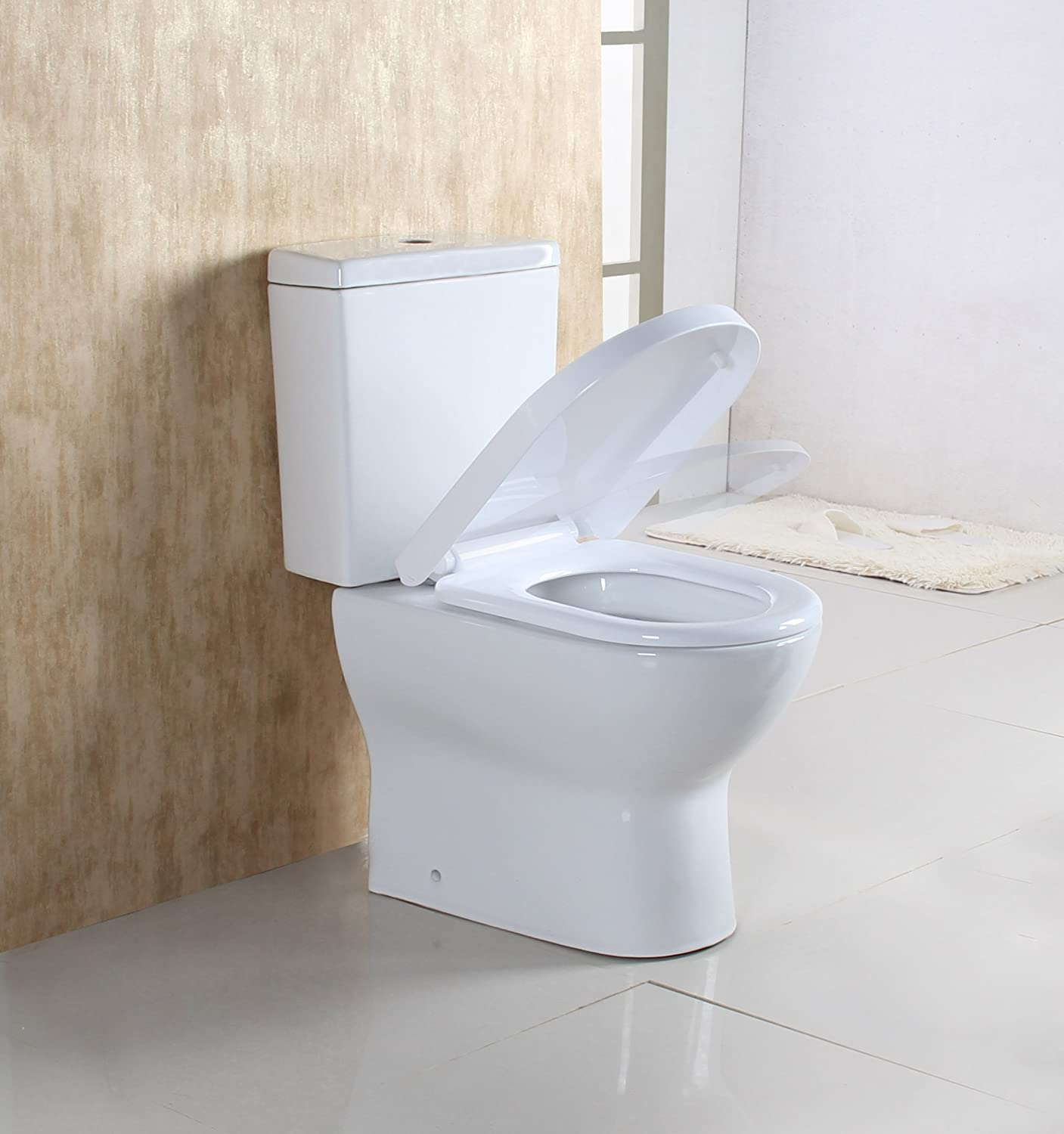 WEIBO Modern Design Back to Wall Toilet Close Coupled WC White Ceramic Soft Close Seat