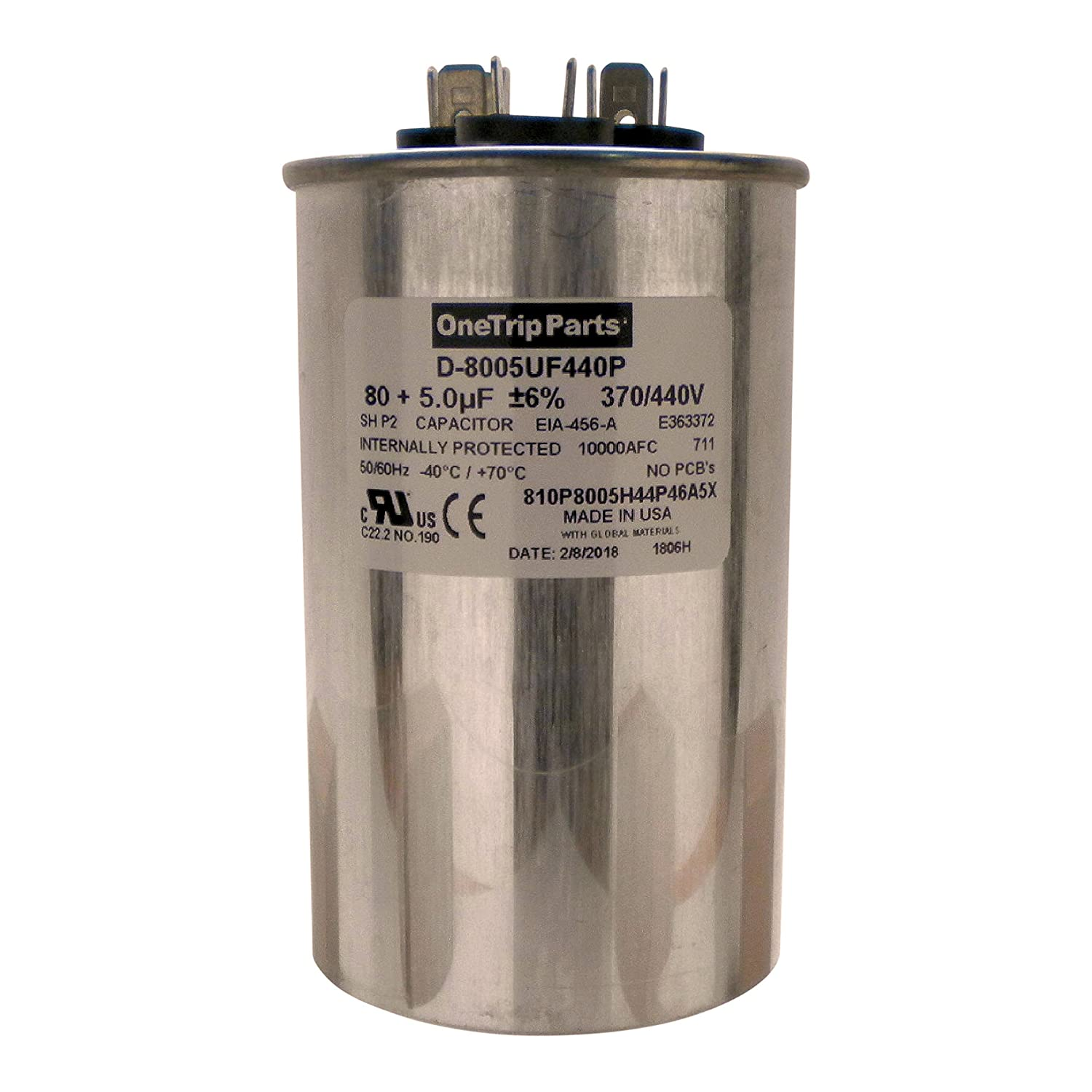 Onetrip Parts Usa Run Capacitor 80 5 Uf Mfd 370 Vac 440 2 Hvac Hard Start Wiring Diagrams 1 Round Heavy Duty Industrial Scientific