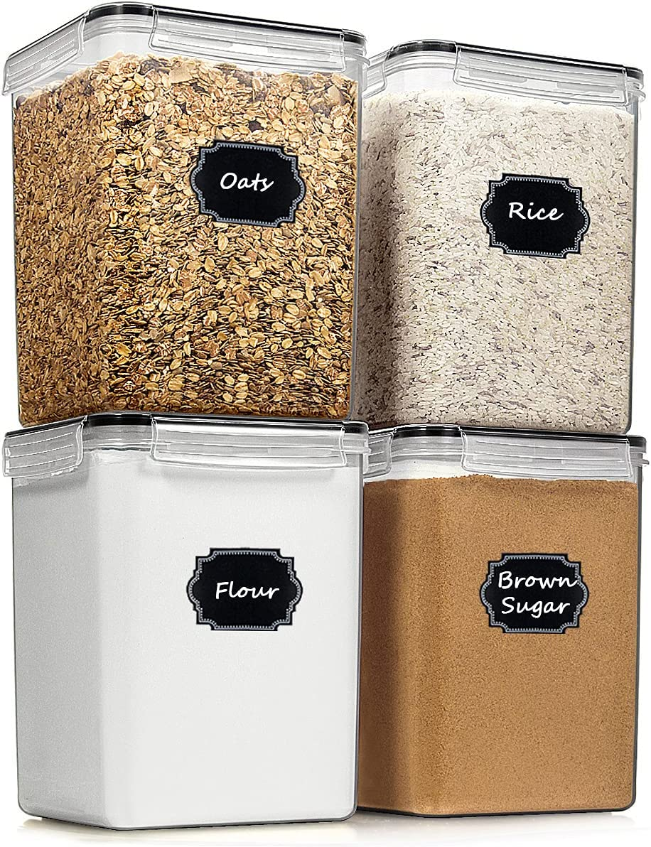 Extra Large Food Storage Containers, Blingco Airtight Tall Cereal & Dry Food Storage Containers Set of 4 [6.5L/ 5.9QT] for Flour, Sugar, Baking Supplies, Kitchen & Pantry Storage Container - Black