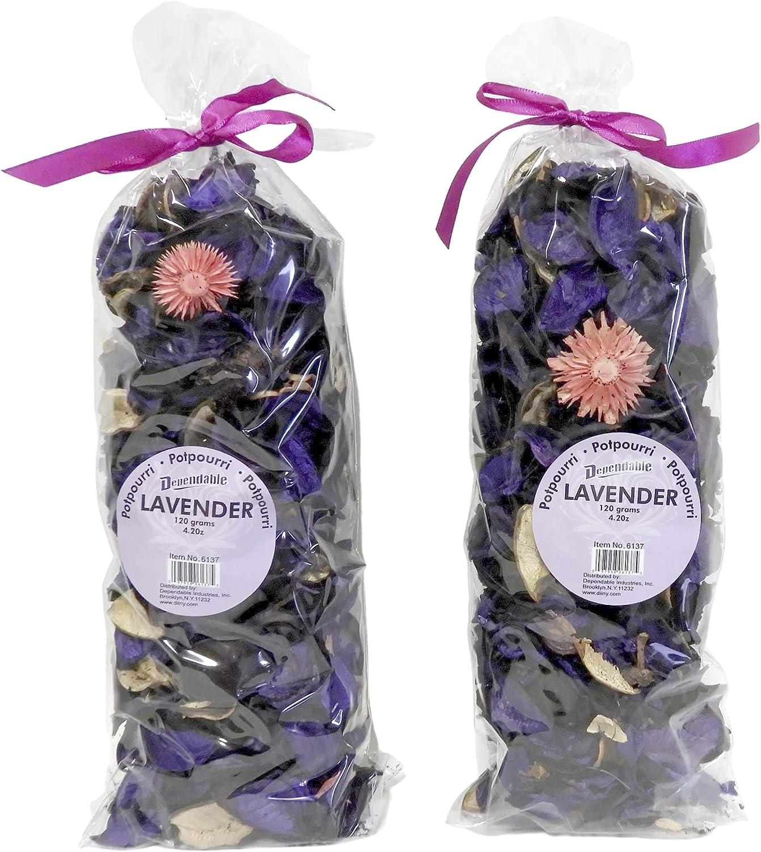 Fresh Scent Petal Potpourri Bowl and Vase Filler Home Decor 2 Large Bags 120 Grams Each (Lavender)