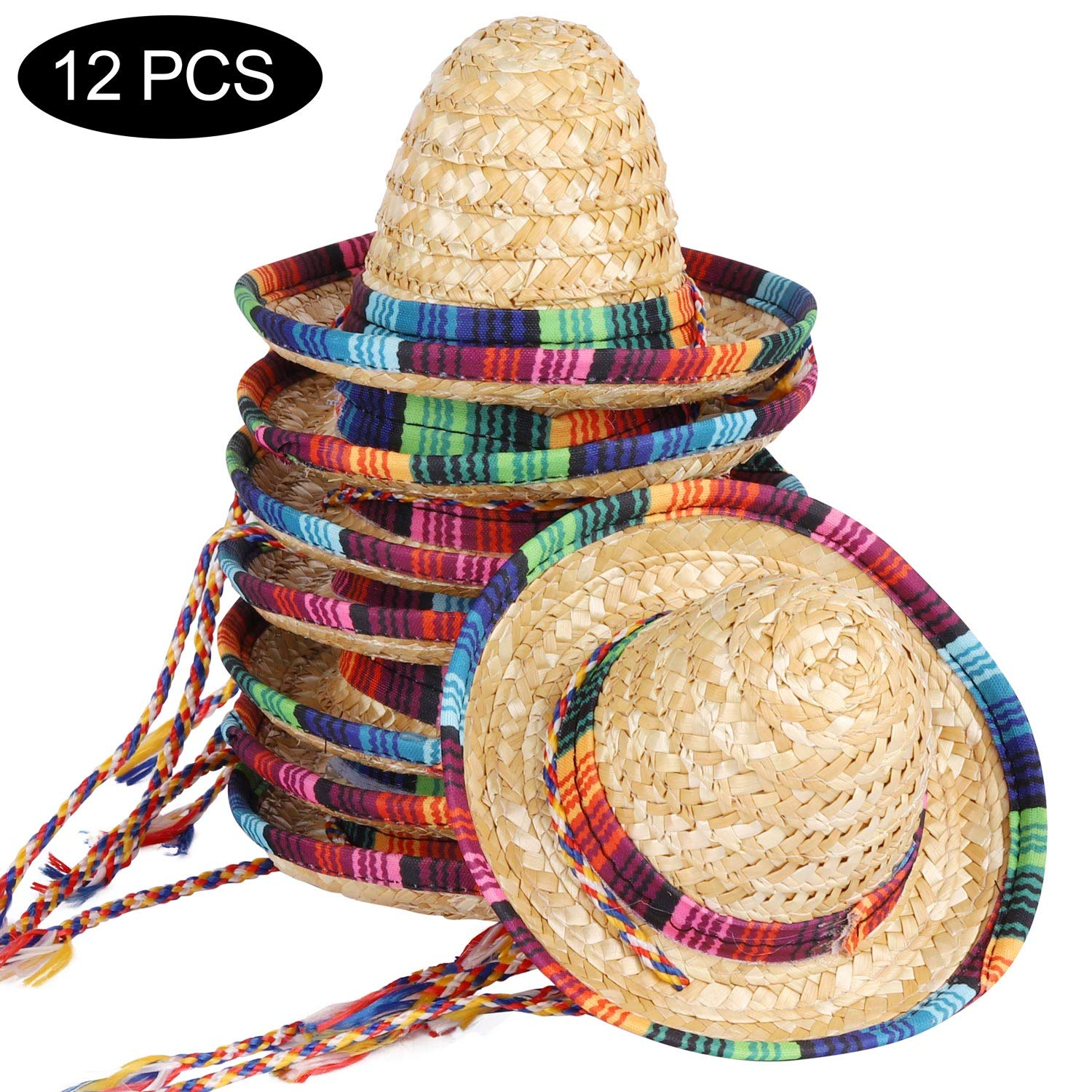 12 Pack Mini Mexican hat, Natural Straw Mini Sombrero Fiesta for Fiesta Hat Party Supplies