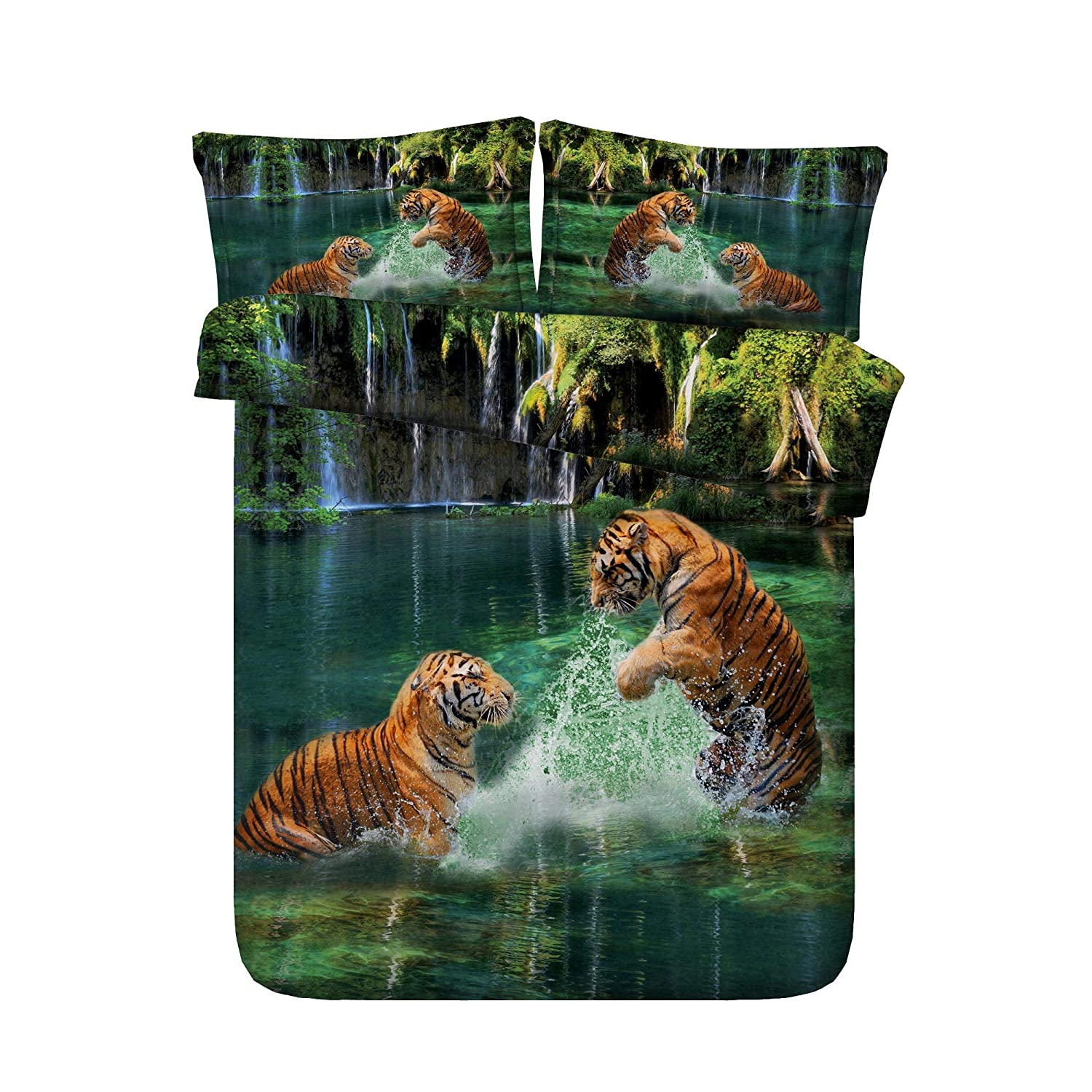 Royal Linen Source Drop Shipping 3PCS Amazing Tigers Playing in River 3D Animal Bed Set Twin Full Queen King Size (JF274, Twin)