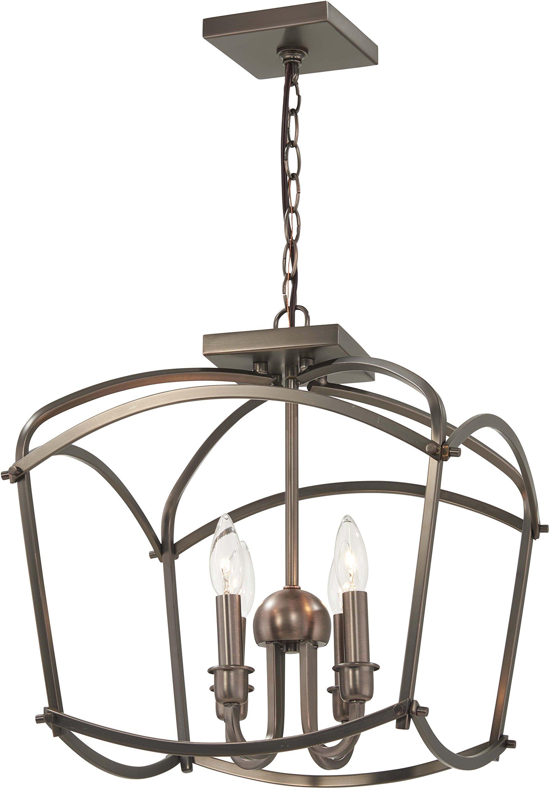 Minka Lavery Pendant Lantern Ceiling Lighting 4773-281 Jupiter's Canopy, 4-Light 240 Watts, Polished Nickel