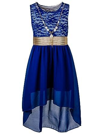 4a5dd508a3143b Unbekannt Unbekannt Kinder Sommer Fest Kleid für Mädchen Sommerkleid  Festkleid mit Kette in vielen Farben Kleider: Amazon.de: Bekleidung
