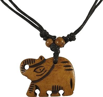 Amazon Com Zen Canyon Natural Brown Elephant Hand Carved Yak Bone Pendant Charm Necklace Eco Friendly Fair Trade Elephant Jewelry