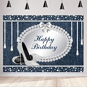 DaShan 7x5ft Polyester Lady Women Happy 18th Birthday Backdrop for Women Diamond and Pearls Diamond Heels for Women 18 Birthday Happy Birthday Photography Background Love Heart YouTube Photo Props