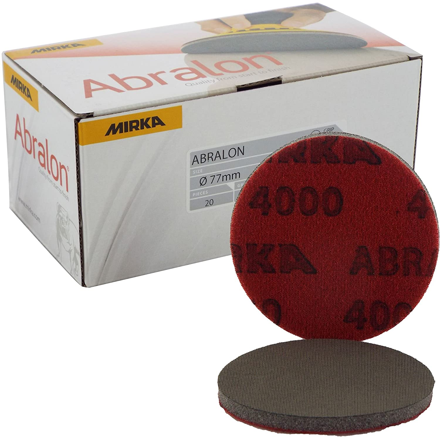Mirka Abralon Ø 77mm 3\' 4000 Grit Velcro Sanding Disc/Pad Sand Foam Machine Pads Suitable Materials Aluminium/Hard wood/Mild steel/carbon steel/Non-ferrous metal/Paint sanding/Stainless Steel/Primer