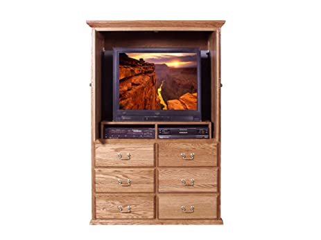 Traditional TV Armoire W/ Pocket Doors: 48W X 72H X 18D Ebony Oak