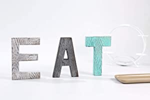 Decorative rustic wood EAT sign in individual block letters, Wood Standing Cutout Letter Decor,Rustic Home Decor, Farmhouse Decor, Wall Decor, Shelf Decor, Family Sign, Home Sign,Decorative Letters.