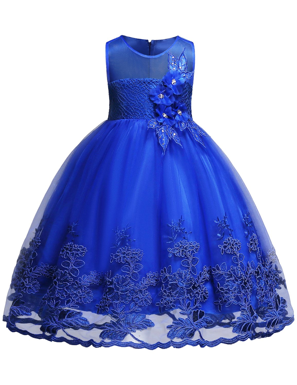 Blevonh Dress for Kids Girls Sleeveless Vintage Print Swing Party Dresses Kids Chiffon Lace 3D Flower Wedding Dresses Size (150) 11-12 Years Purplish Blue Dress