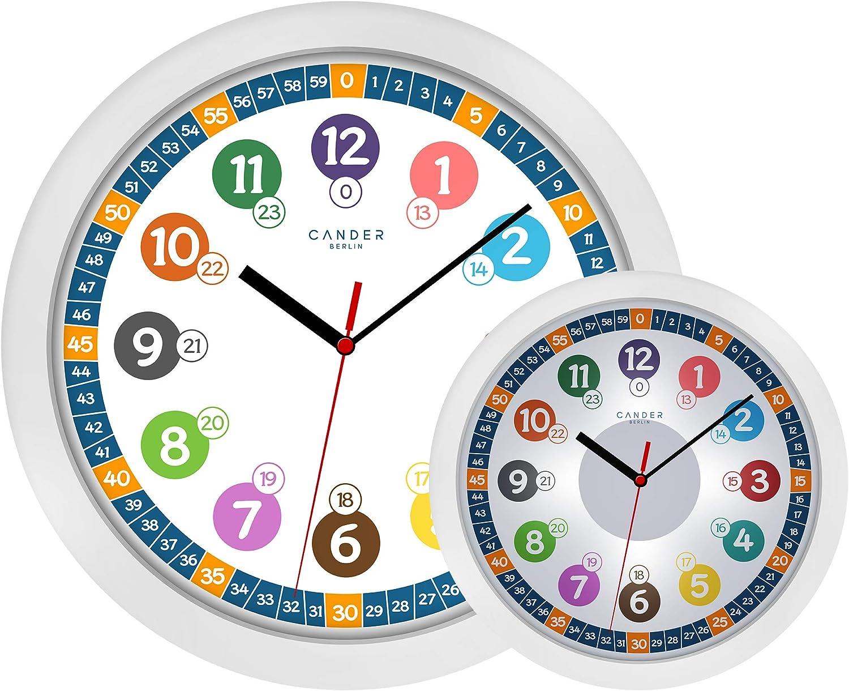 cander Berlin MNU 5130–Reloj infantil de pared (Diámetro) 30,5cm Niños Reloj De Pared Con Silencioso Reloj de esfera y 5niveles de iluminación (regulable)–Lectura, Aprendizaje de la Hora