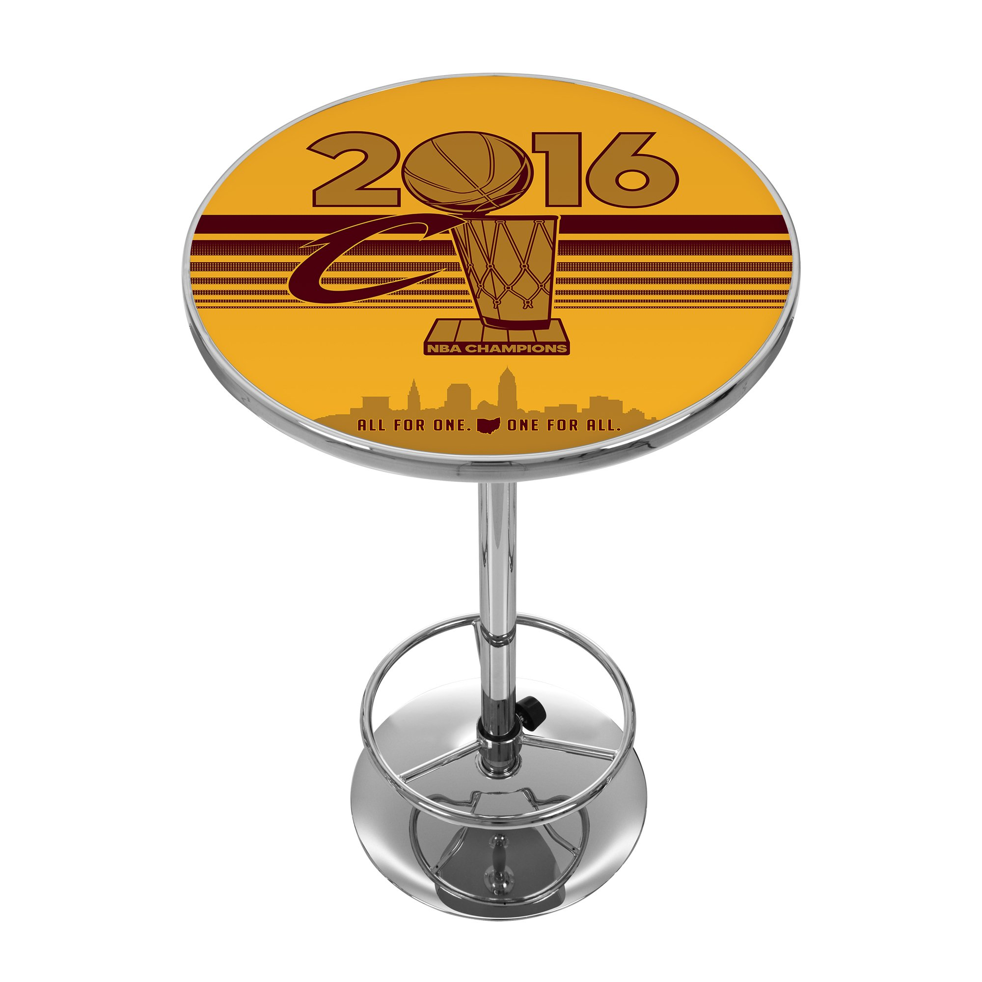 NBA Cleveland Cavaliers 2016 Chamipons Chrome Pub Table, Wine/Gold, One Size