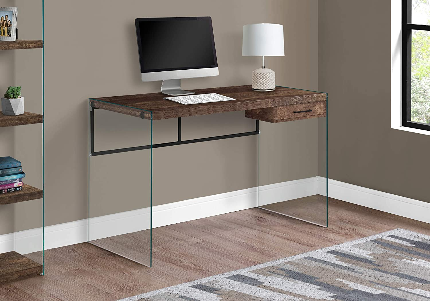 "Monarch Specialties Computer Desk - Contemporary Writing Desk with Drawer - Tempered Glass Legs - 48""L (Brown Reclaimed Wood Look)"