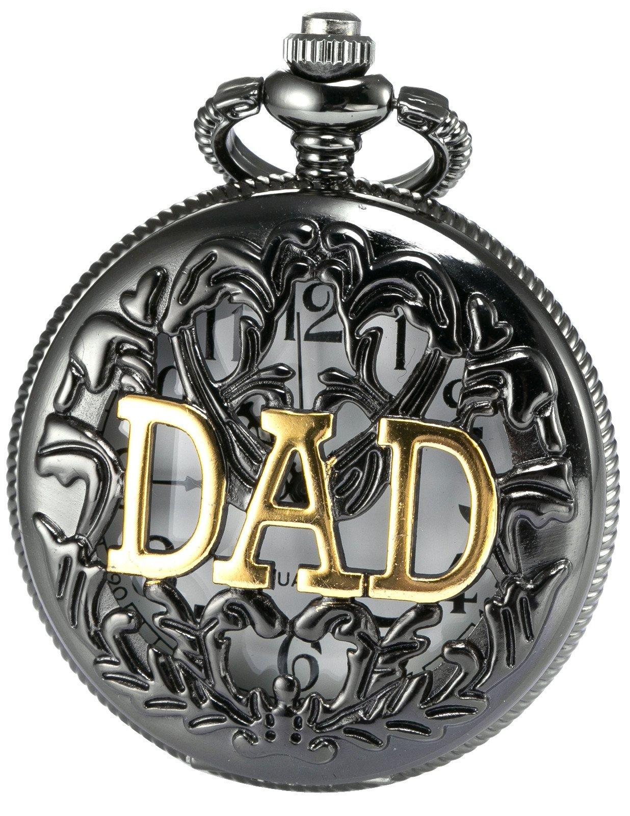 AMPM24 Women Men's Dad Black Dangle Pendant Pocket Quartz Watch Gift + Chain WPK051