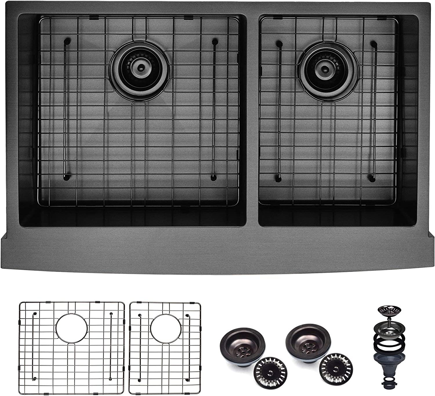 Koozzo 33 Gunmetal Black Nano Farmhouse Apron Front Kitchen Sink For Luxury Kitchen 60 40 Double Bowl Grid And Drain Enclosed Amazon Com