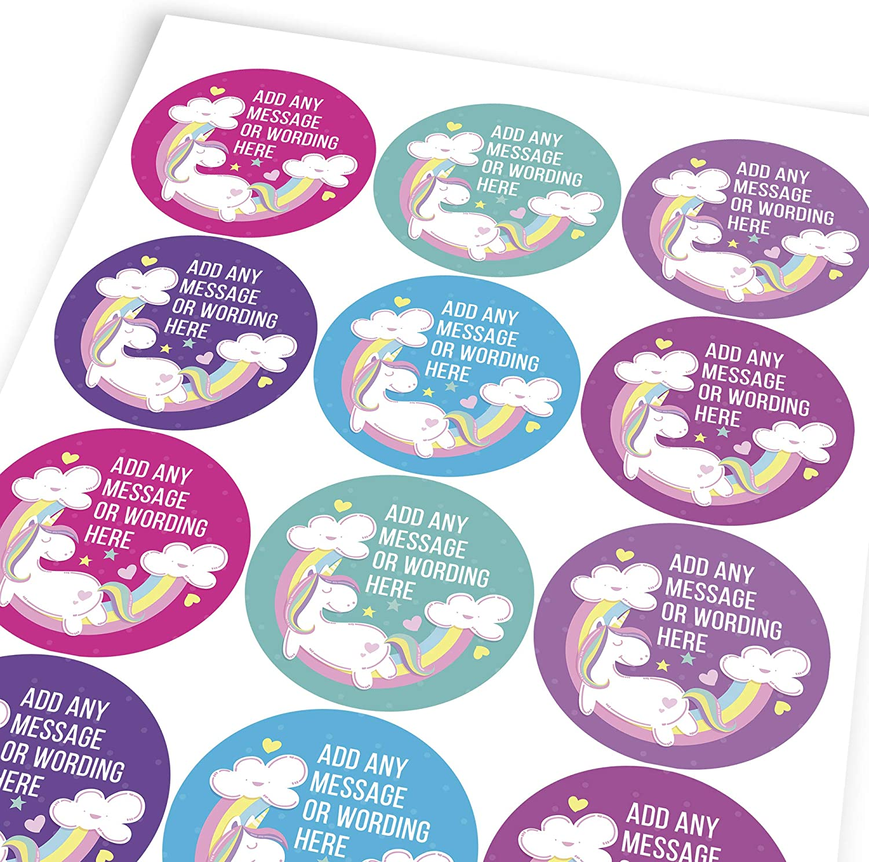 Custom Sticker Labels Graphic Flavour Sweet Unicorn Rainbow Personalised Children 6 Stickers @ 9.5cm Teachers Parents