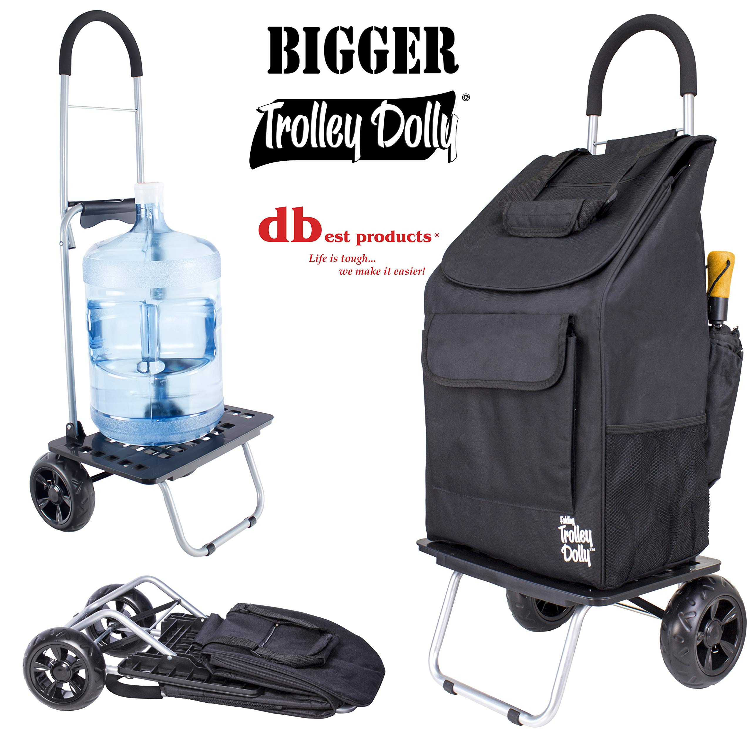 dbest products Bigger Trolley Dolly, Black Shopping Grocery Foldable Cart