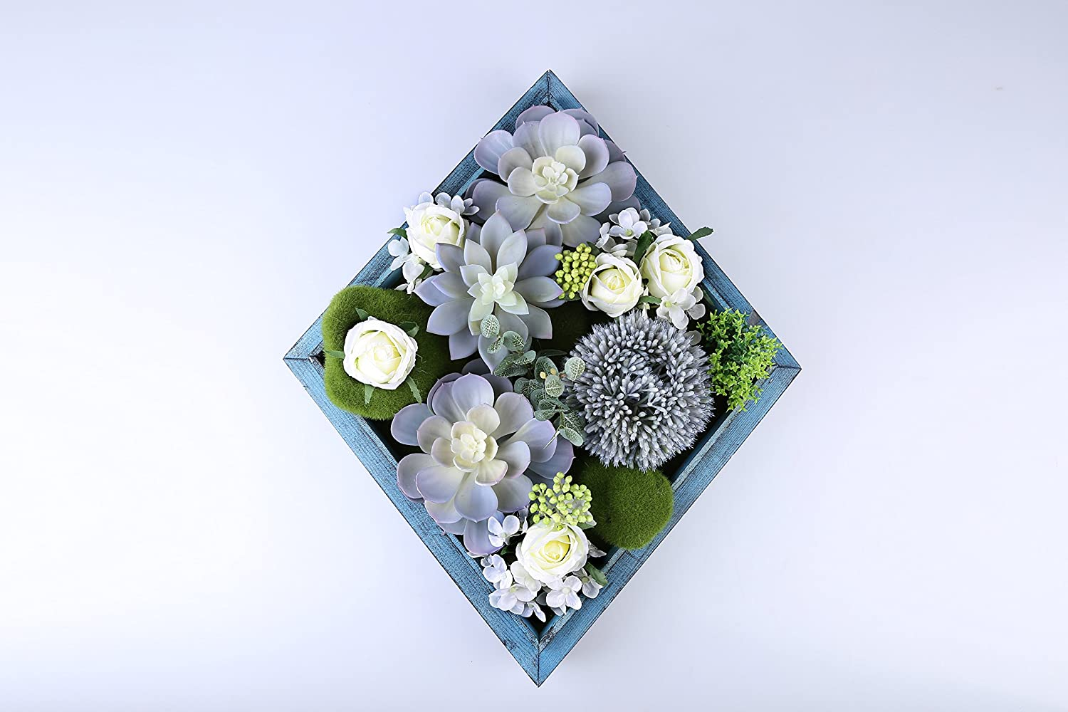 Jintano 3D Artificial Flowers Wall Hanger Succulent Plants Moss with Blue Frame Home Decor