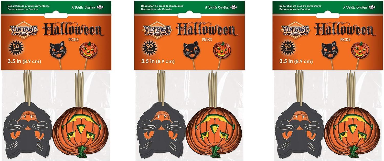 Beistle 150 Piece Paper Vintage Halloween Party Food Picks Cat Pumpkin Cupcake Toppers, 3.5