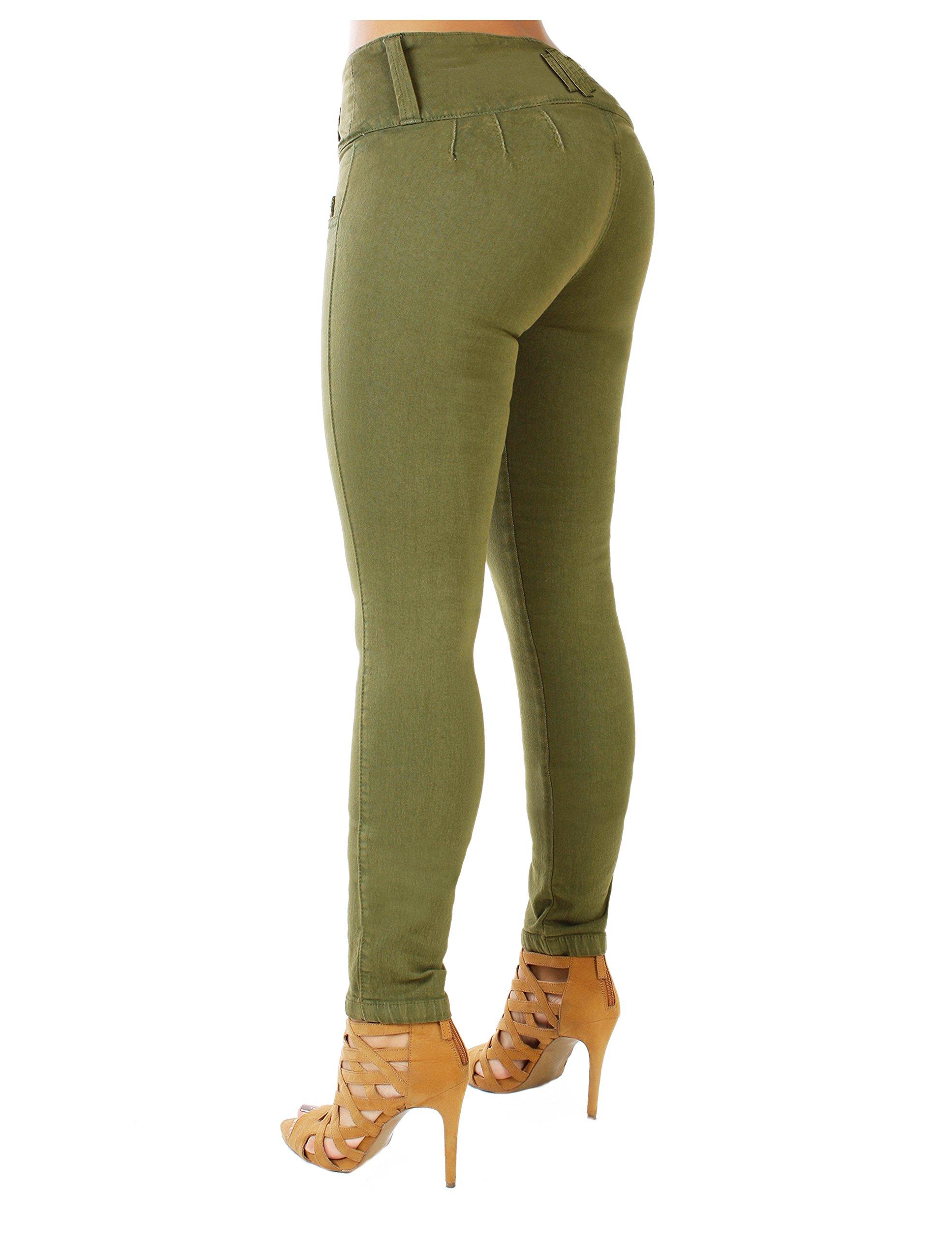 Curvify 765 Premium Women's Enhanced Butt Liftting Skinny Jeans (765-Olive-11)