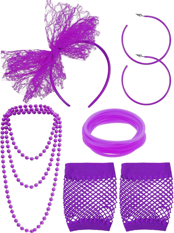 80s Fancy Dress Costume Accessories Lace Headband Earrings Fishnet Gloves Necklace Bracelet for 80s Retro Party (Purple)