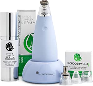 Microderm GLO MINI Premium Skincare Bundle - Includes Diamond Microdermabrasion System, 8mm Filters 30 pack, Peptide Complex Serum. Best Anti Aging Treatment Blackhead Remover and Pore Vacuum Kit