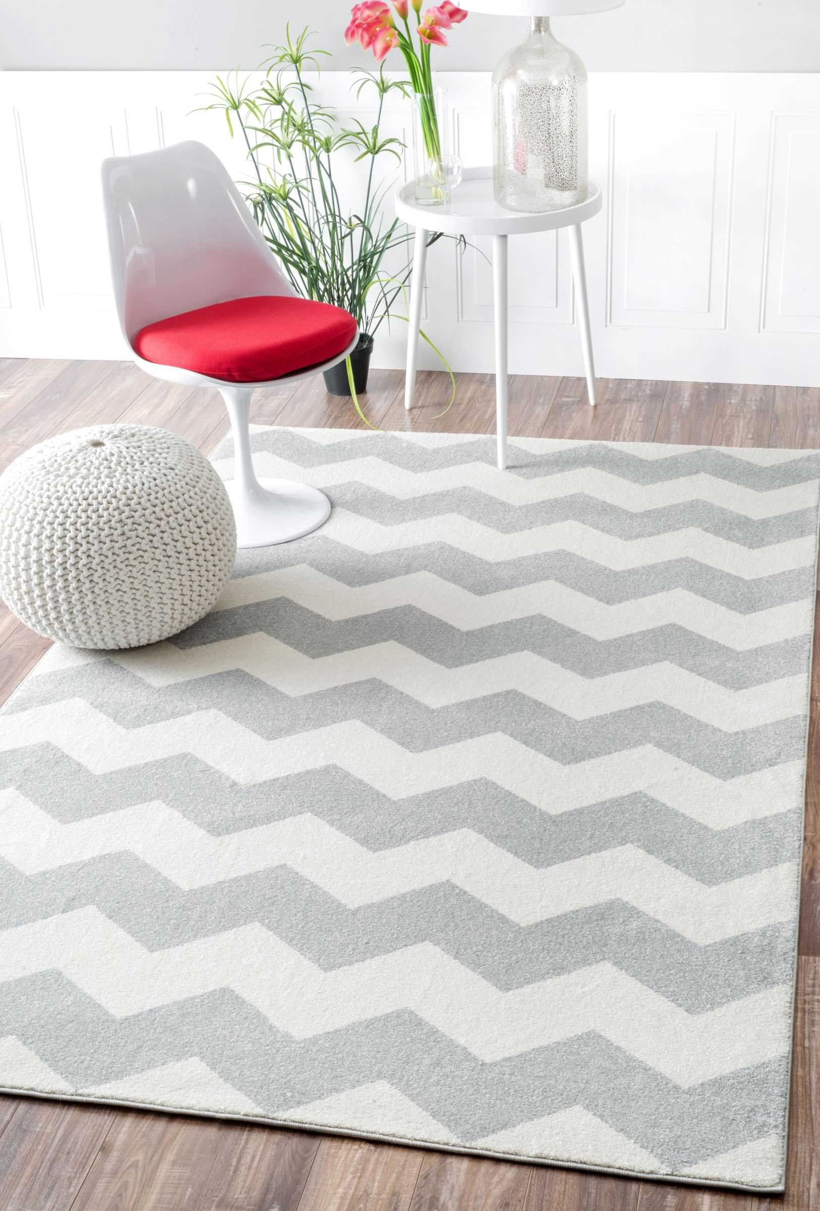 Geometric Chevron Vibe Zebra Kids Area Rug by nuLOOM