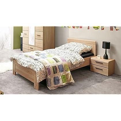 Bett 90 X 200 Cm Mit Nachtkommode Sonoma Eiche Gunstig Online Kaufen