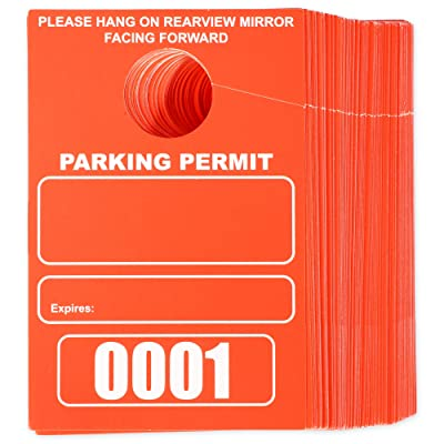 Temporary Hanging Parking Permit for Car Parking Management, Numbered 1-100 (3.15 x 4.75 in, Neon Red): Office Products