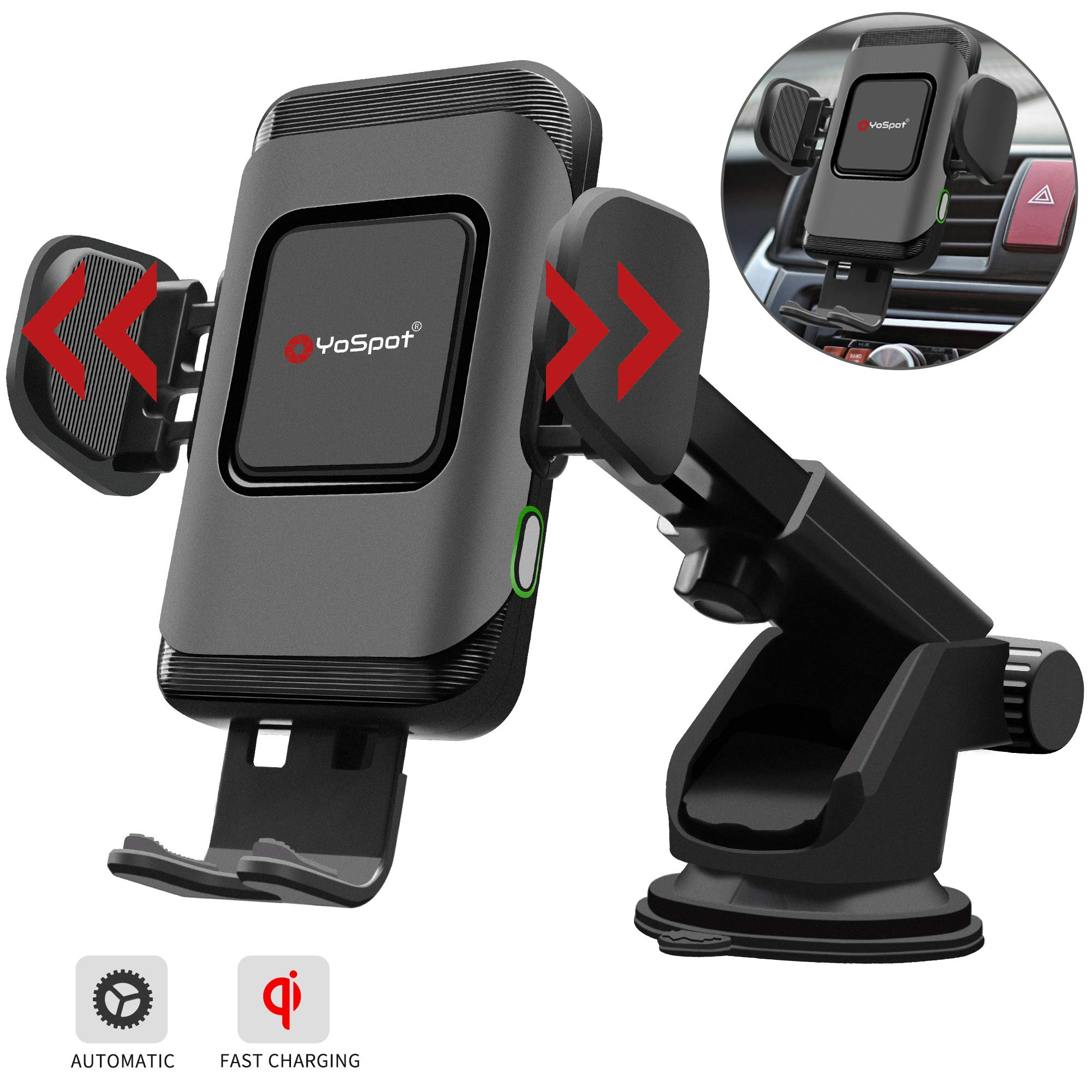 YoSpot QI 10W Wireless Car Charger Auto Clamping Phone Mount Air Vent & Windshield Dashboard Phone Holder Compatible with iPhone Xs Max/XR/XS/X/8/8 Plus Galaxy S10/S10+/S9/S9+/S8/S8+ Universal Clamp by YoSpot