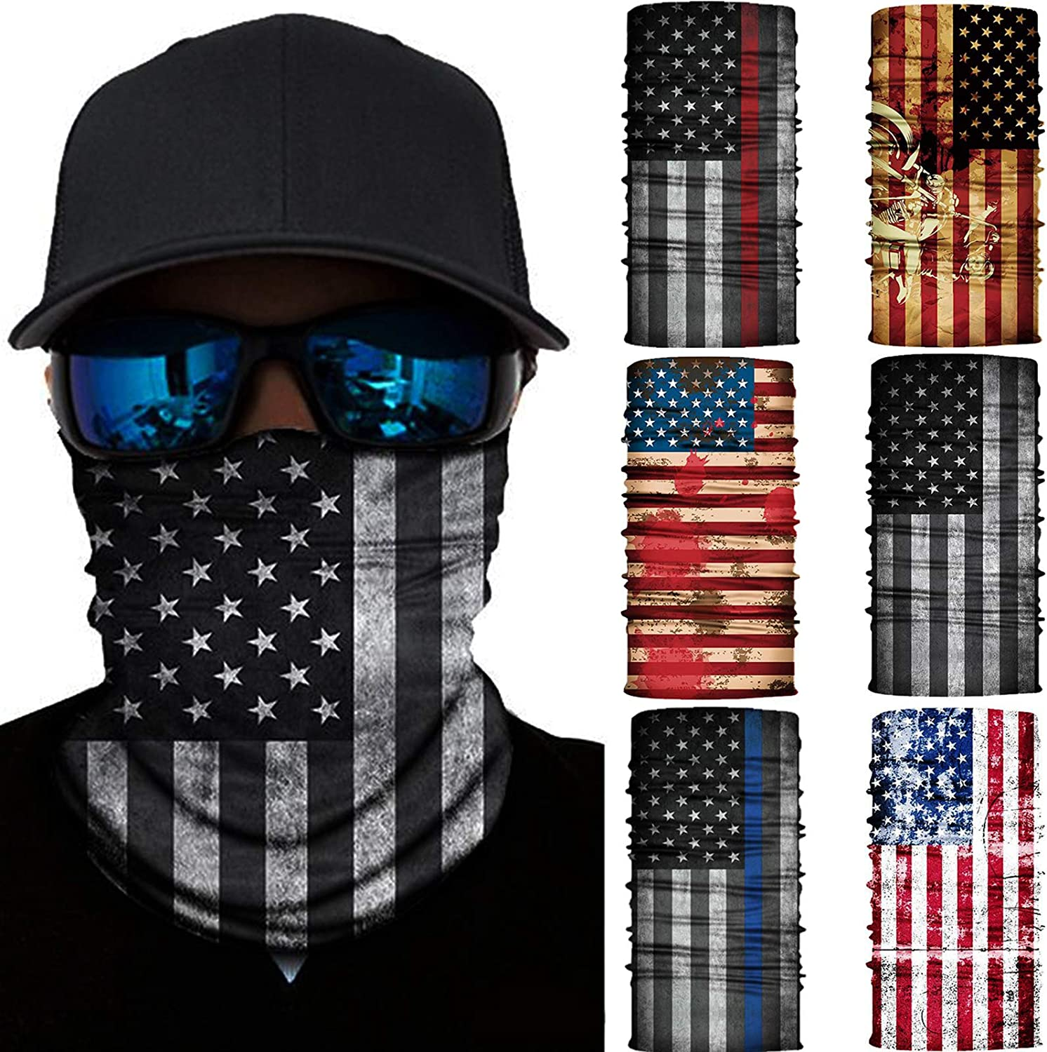 6 Pcs Masks Scarf Dust Protection Neck Gaiter Seamless Bandana National Flag Rave Face Mask Dust Wind UV Protection Scarf Sports Headwear Balaclava for Man Woman Blue