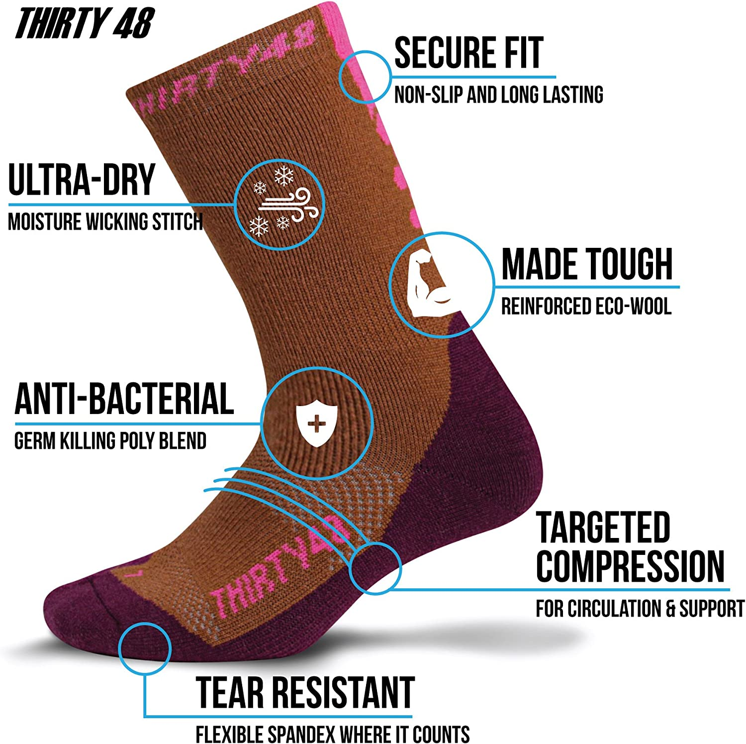 Winter Outdoor Travel :: 3 Pack Brown//P Premium Hiking Socks by Thirty48 :: Cushioned Anti-Bacterial Vegan Wool :: HK Series :: Thermal Performance Crew Socks :: Anti-Odor Moisture Wicking Poly :: Best Socks for Hiking Mountain Climbing Camping Boots