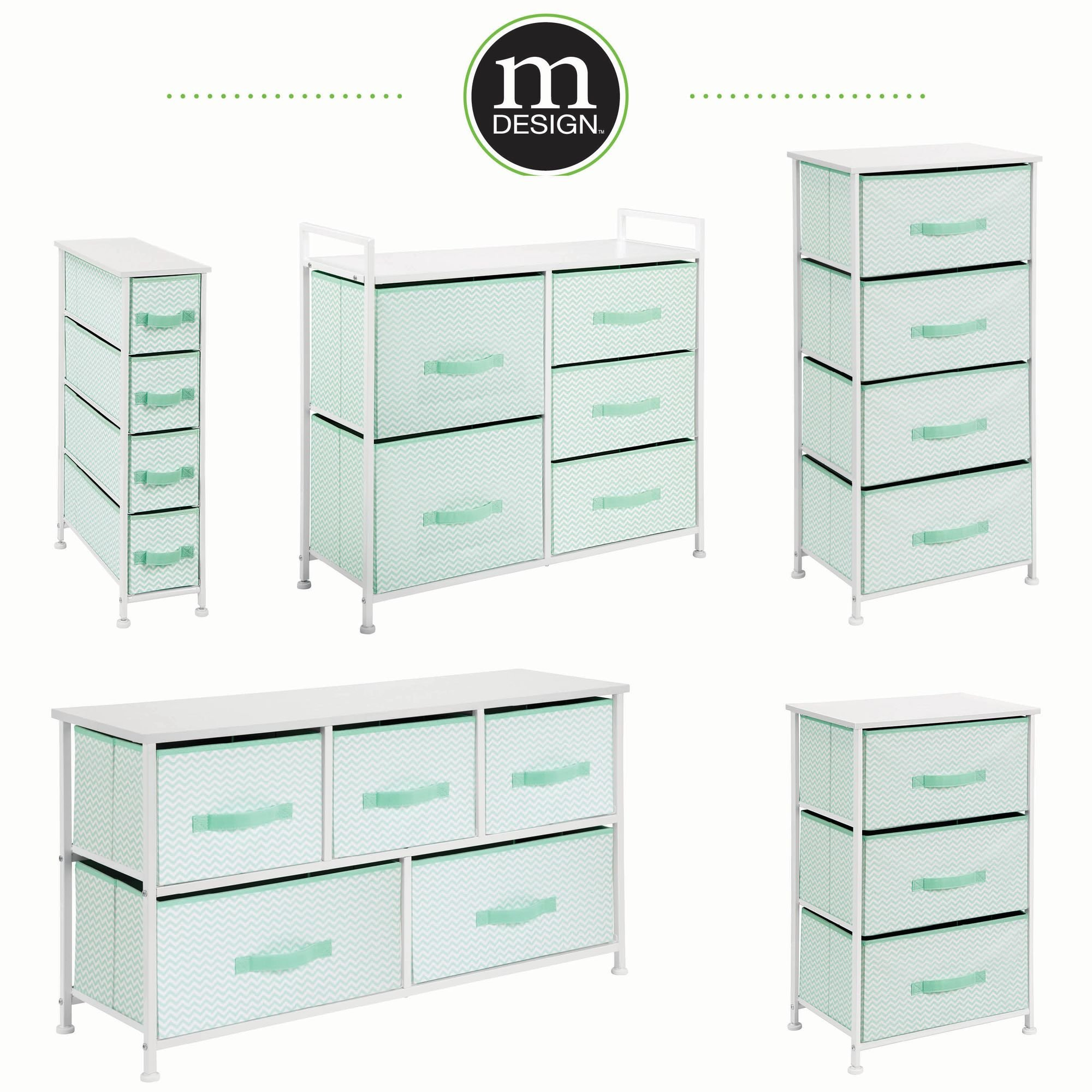 mDesign Vertical Dresser Storage Tower - Sturdy Steel Frame, Wood Top, Easy Pull Fabric Bins - Organizer Unit for Bedroom, Hallway, Entryway, Closets - Chevron Print - 3 Drawers, Mint/White by mDesign (Image #5)