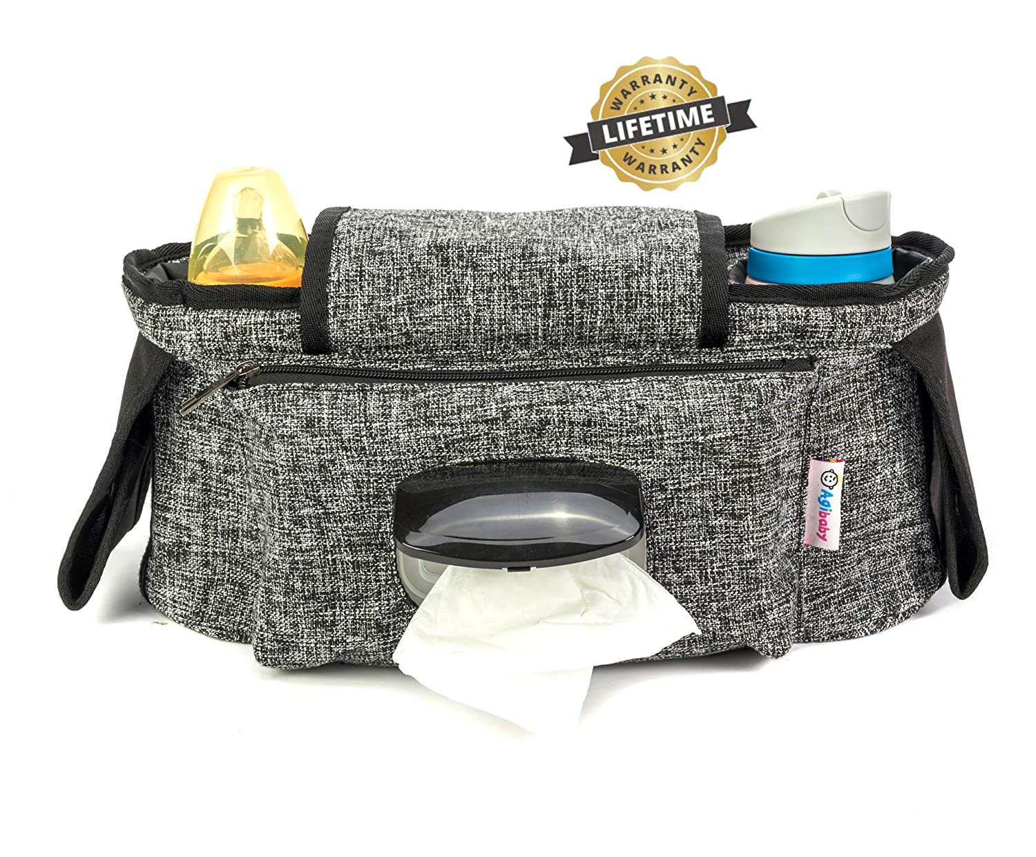 Agibaby Stroller Organizer, Insulated Deep Cup Holders, Instant Access Wipe Pocket, Universal Strap Fit, Large Storage Space for Diapers & Phone
