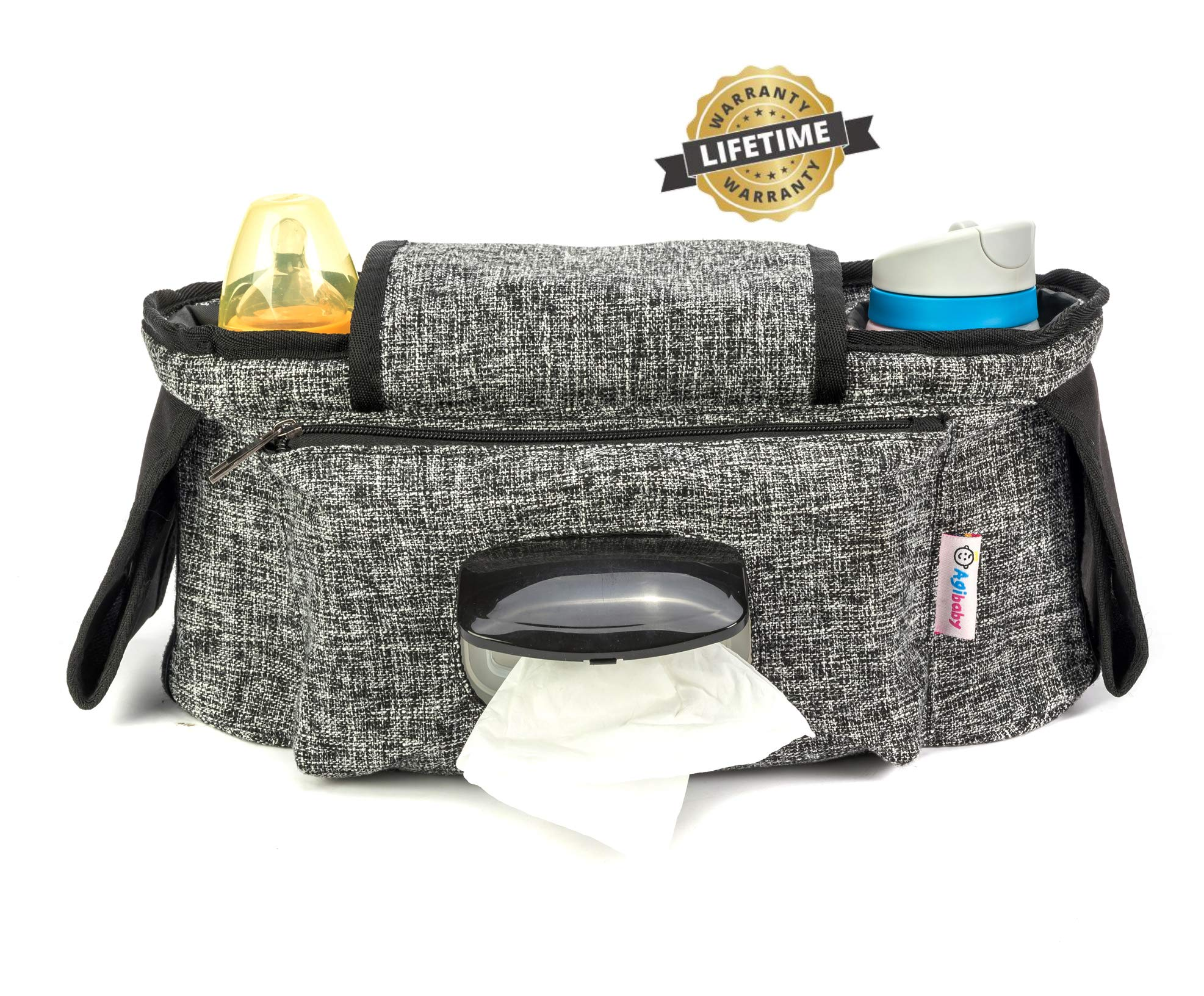 Agibaby Stroller Organizer, Insulated Deep Cup Holders, Instant Access Wipe Pocket, Universal Strap Fit, Large Storage Space