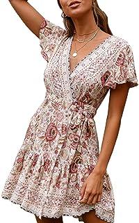 3d90534faf9d ECOWISH Damen Kleider Boho Vintage Sommerkleid V-Ausschnitt A-Linie  Minikleid Swing Strandkleid mit
