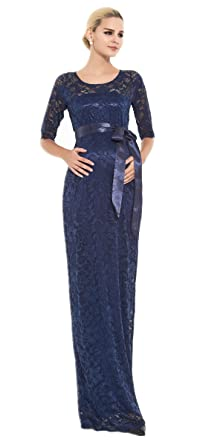 401d46ea3b M2B Maternity Evening Dress Lace Blue Maxi Full Length Long Baby Shower  Party Wedding Bridesmaid Maternity Pregnant Formal
