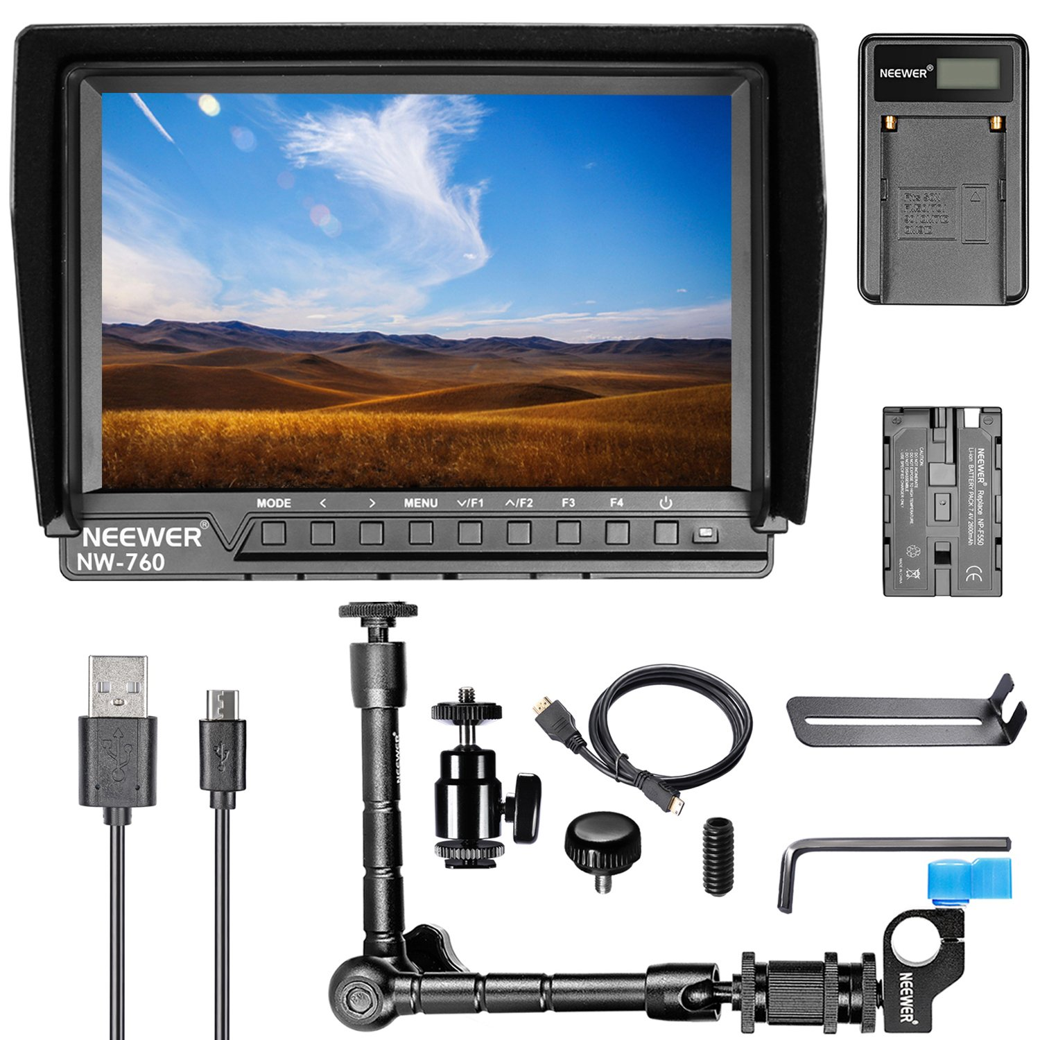 Neewer NW-760 7 inches Full HD 1920x1200 IPS Screen Camera Field Monitor Kit for Sony Canon Nikon Olympus Pentax Panasonic, Include NW-760 Monitor, Magic Arm, USB Battery Charger, F550 Replacement Battery 90088942