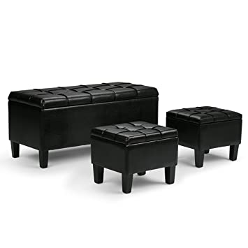 Amazon Simpli Home Dover 3 Piece Rectangular Storage Ottoman