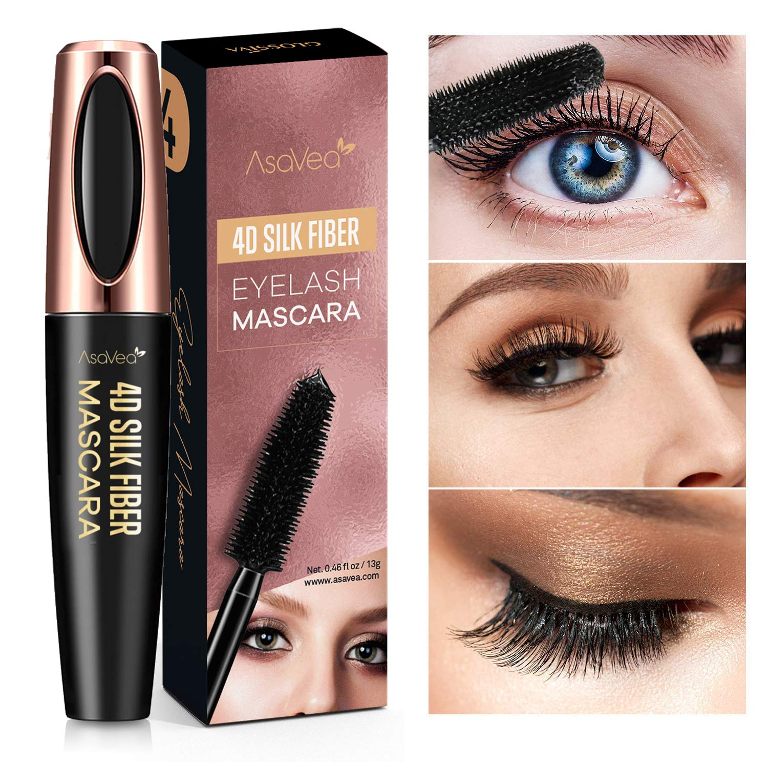 994a1d79026 Natural 4D Silk Fiber Lash Mascara, Lengthening and Thick, Long Lasting,  Waterproof &