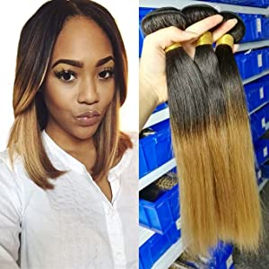 Babe Hair Silky 7A Black Blonde 2 Tone Ombre Straight Virgin Hair Weave Bundle 1 Piece Only 100% Human Hair Sew-in Extension Milk Way