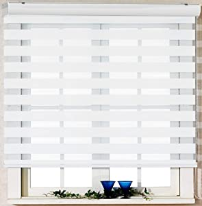 Foiresoft Custom Cut to Size, [Winsharp Basic, White, W 27 x H 64 inch] Zebra Roller Blinds, Dual Layer Shades, Sheer or Privacy Light Control, Day and Night Window Drapes, 20 to 110 inch Wide