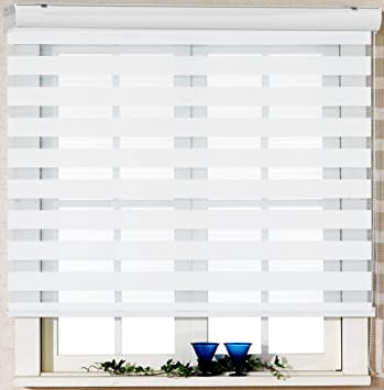 Custom Cut To Size Winsharp Basic White W 59 X H 82 Inch Horizontal Window Shade Blind Zebra Dual Roller Blinds Treatments Maximum 91