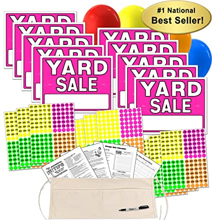 Yard Sale Sign Kit With Pricing Stickers And Change Apron A502Y
